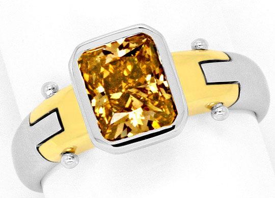 Foto 2, 1,59 Carat Goldbraun Diamantring 18K Gelbgold Weissgold, R3027