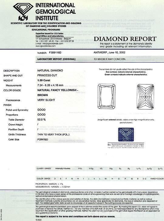 Foto 9, 1,59 Carat Goldbraun Diamantring 18K Gelbgold Weissgold, R3027