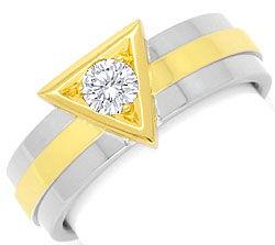 Foto 1, Designer Handarbeits Brilliant Ring, Gelbgold Weissgold, R3029