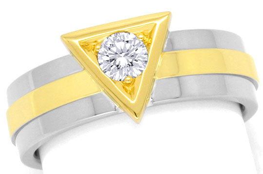 Foto 2, Designer Handarbeits Brilliant Ring, Gelbgold Weissgold, R3029