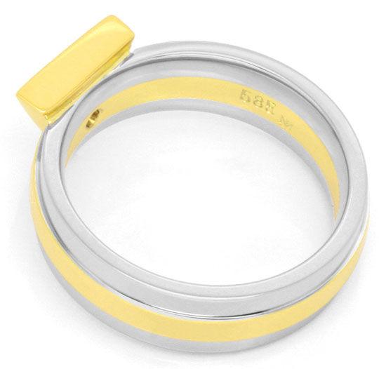 Foto 3, Designer Handarbeits Brilliant Ring, Gelbgold Weissgold, R3029