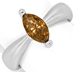 Foto 1, 1,3 Carat Navette Diamant Ring Handarbeit 18K Weissgold, R3030