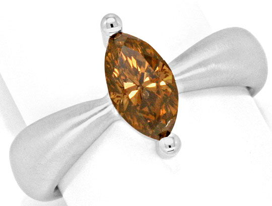 Foto 2, 1,3 Carat Navette Diamant Ring Handarbeit 18K Weissgold, R3030