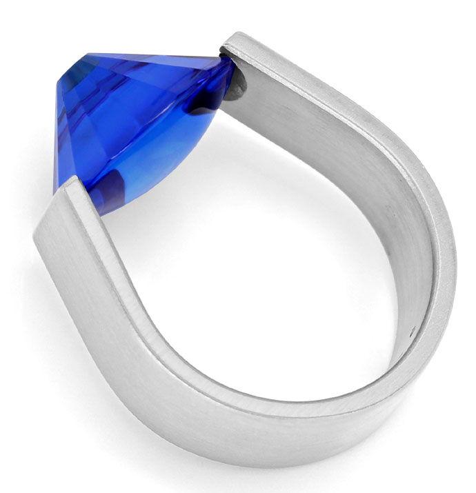 Foto 4 - Bunz massiver Platin Spannring Brillant in blauem Safir, R3182