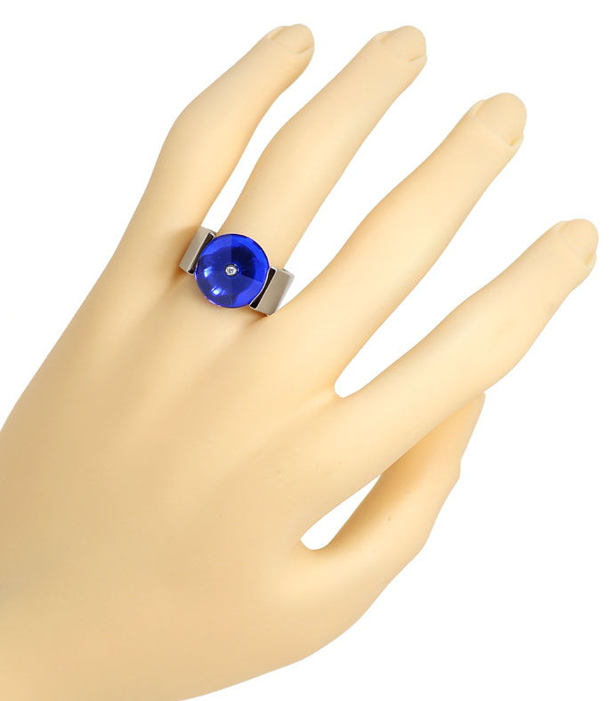 Foto 5 - Bunz massiver Platin Spannring Brillant in blauem Safir, R3182