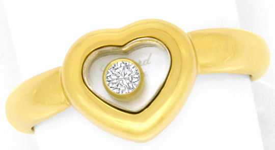 Foto 2, Original Chopard Happy Diamonds Brillant Herz Ring Gold, R3227