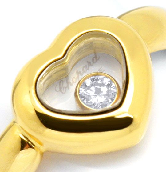 Foto 3, Original Chopard Happy Diamonds Brillant Herz Ring Gold, R3227
