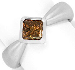Foto 1, Diamant-Ring Schoko Princess-Cut, massiv 18K Weiss-Gold, R3238