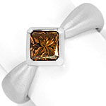 Diamant Ring Schoko Princess Cut, massiv 18K Weiss Gold