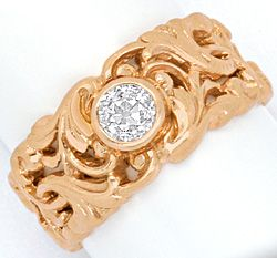 Foto 1, Diamant Ring Florales Design 0,50 ct Altschliff Rotgold, R3240