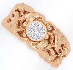 Foto 1, Diamant-Ring 0,45 ct Altschliff Rotgold Florales Design, R3241