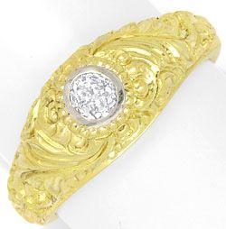 Foto 1 - Diamantbandring 0,40 Altschliff Florale Gravur Gelbgold, R3300