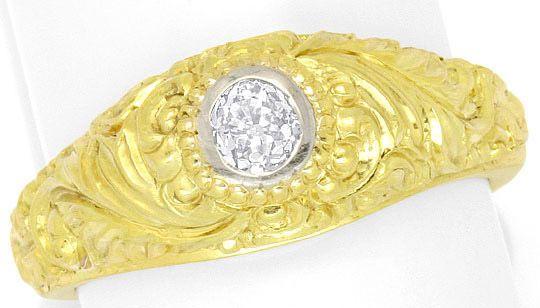 Foto 2 - Diamantbandring 0,40 Altschliff Florale Gravur Gelbgold, R3300