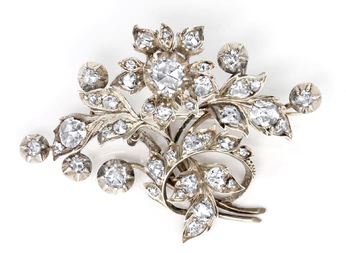 Foto 1 - Original antike Diamanten Brosche 3,2 Carat Silber Gold, R3303