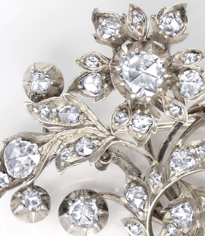 Foto 2 - Original antike Diamanten Brosche 3,2 Carat Silber Gold, R3303