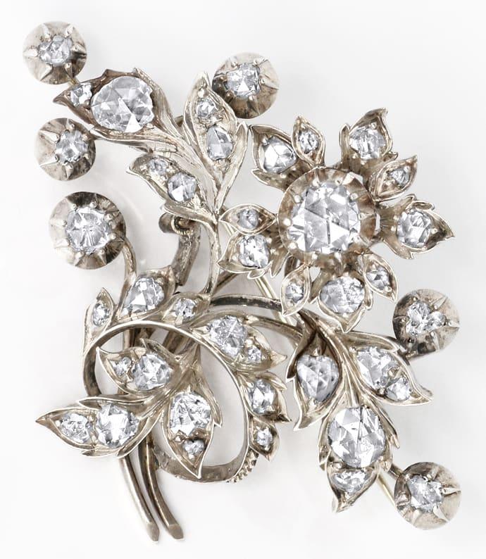 Foto 4 - Original antike Diamanten Brosche 3,2 Carat Silber Gold, R3303
