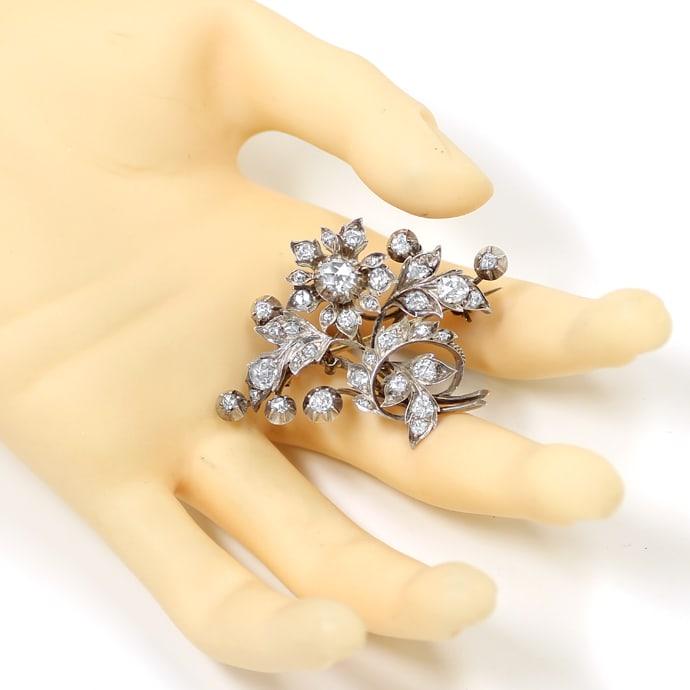 Foto 5 - Original antike Diamanten Brosche 3,2 Carat Silber Gold, R3303