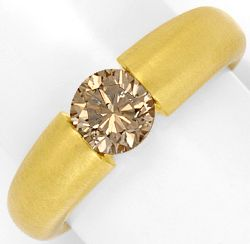 Foto 1, Brillant Spannring 1,17ct Fancy Yellowish Bronw HRD 18K, R3348