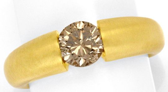 Foto 2, Brillant Spannring 1,17ct Fancy Yellowish Bronw HRD 18K, R3348