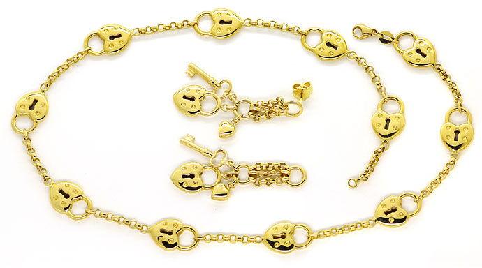 Foto 1 - Designer Herz Schloss Gelbgold Halskette mit Ohrhängern, R3358