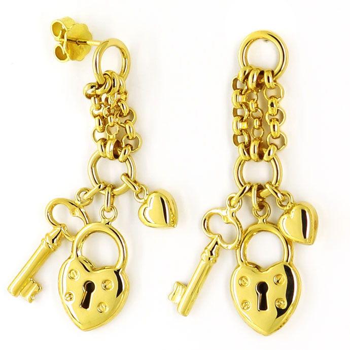 Foto 2 - Designer Herz Schloss Gelbgold Halskette mit Ohrhängern, R3358
