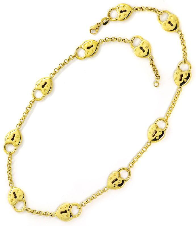 Foto 3 - Designer Herz Schloss Gelbgold Halskette mit Ohrhängern, R3358