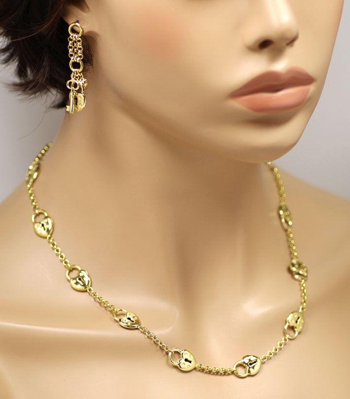 Foto 4 - Designer Herz Schloss Gelbgold Halskette mit Ohrhängern, R3358