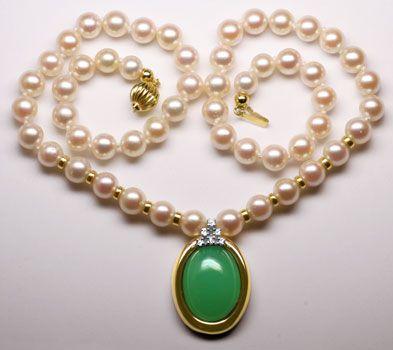 Foto 1 - Akoya Perlen Kollier mit Diamanten Chrysopras, Gelbgold, R3567
