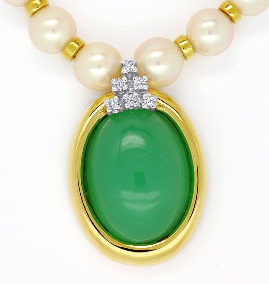 Foto 2 - Akoya Perlen Kollier mit Diamanten Chrysopras, Gelbgold, R3567