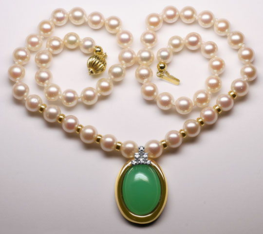 Foto 3 - Akoya Perlen Kollier mit Diamanten Chrysopras, Gelbgold, R3567
