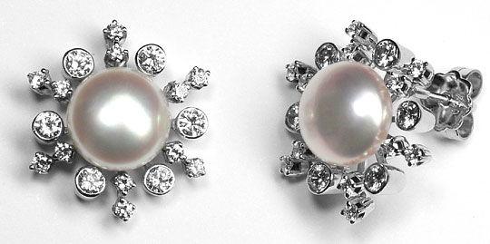 Foto 1 - Brillanten Ohrstecker 9,5mm Button Perlen 18K Weissgold, R3568