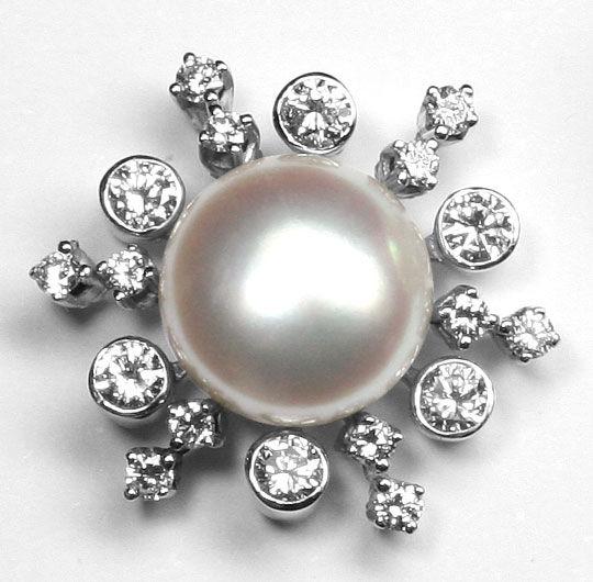 Foto 2 - Brillanten Ohrstecker 9,5mm Button Perlen 18K Weissgold, R3568