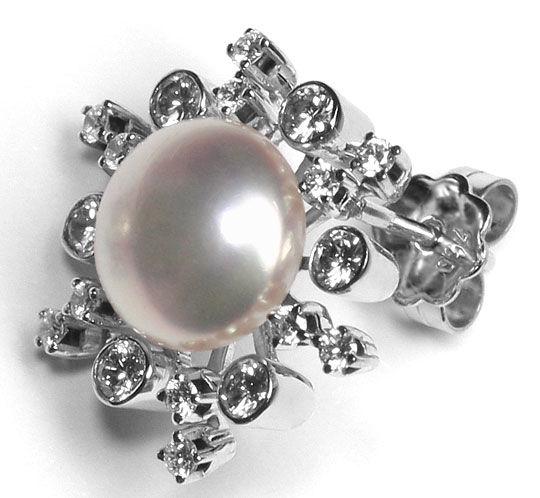 Foto 3 - Brillanten Ohrstecker 9,5mm Button Perlen 18K Weissgold, R3568