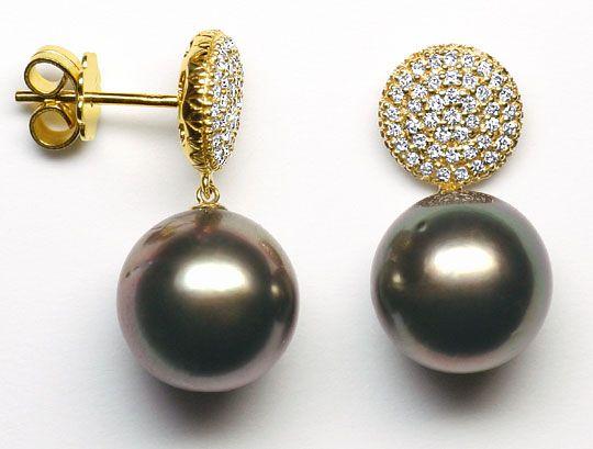 Foto 1 - Gold Ohrhänger mit 86 Diamanten und 11,9mm Tahitiperlen, R3569