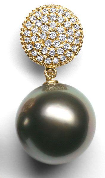 Foto 2 - Gold Ohrhänger mit 86 Diamanten und 11,9mm Tahitiperlen, R3569