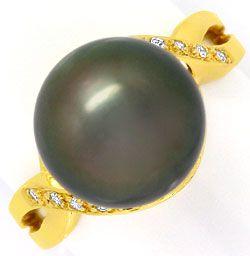 Foto 1 - Top 11,4 mm Tahiti Perlen Gelbgoldring 14 Diamanten 14K, R3572