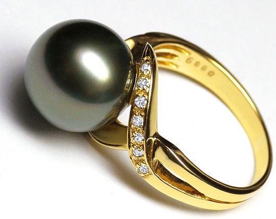 Foto 2 - Top 11,4 mm Tahiti Perlen Gelbgoldring 14 Diamanten 14K, R3572