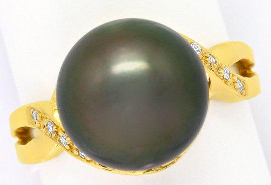 Foto 3 - Top 11,4 mm Tahiti Perlen Gelbgoldring 14 Diamanten 14K, R3572