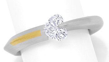 Foto 1 - Bunz Ring 0,72ct River D lupenrein Herz Diamant, Platin, R3630