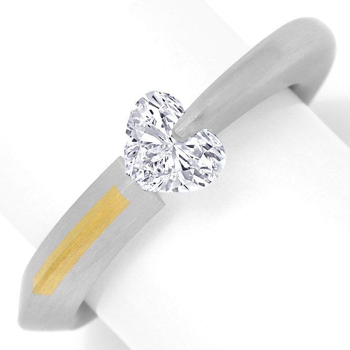 Foto 2 - Bunz Ring 0,72ct River D lupenrein Herz Diamant, Platin, R3630