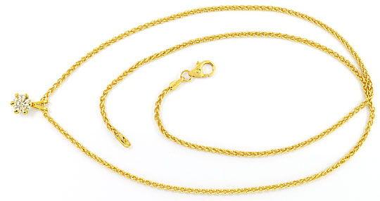 Foto 1 - Diamant Halbkaräter Kollier Brillant Solitaer Zopfkette, R3681