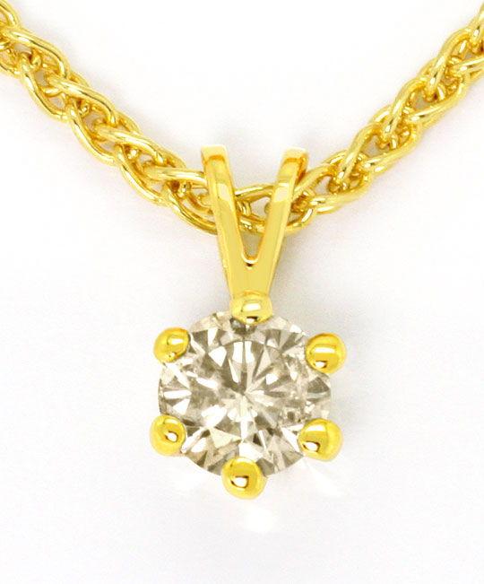 Foto 2 - Diamant Halbkaräter Kollier Brillant Solitaer Zopfkette, R3681