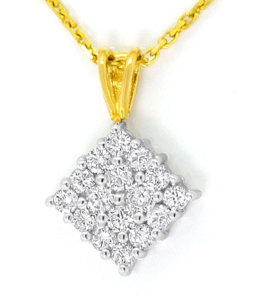 Foto 2, Brillant Diamant Gold Kollier 16 Strahlende Brillianten, R3682