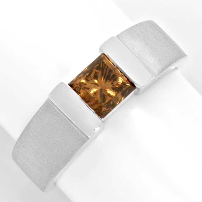 Diamantring 1,09 Princess Fancy Intense Yellowish Bronw, Designer Ring