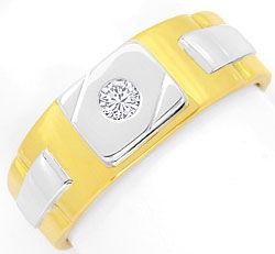 Foto 1 - Herren Siegel Brilliant Ring 18K/750 Gelbgold Weissgold, R3767