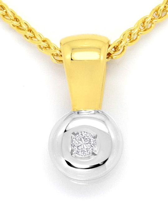 Foto 2 - Brillant Kollier, Zopf Halskette Clip Anhänger 14K Gold, R3984