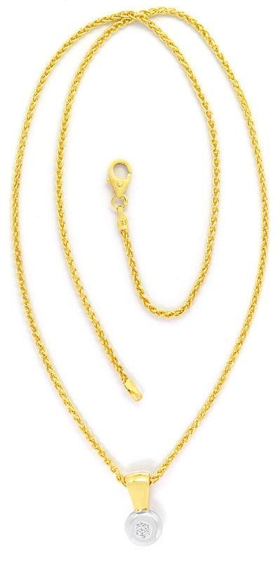 Foto 4 - Brillant Kollier, Zopf Halskette Clip Anhänger 14K Gold, R3984