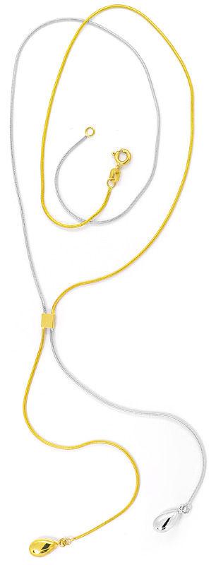 Foto 3 - Designer Halskette Goldkollier mit Bommeln, Bicolor 14K, R4084