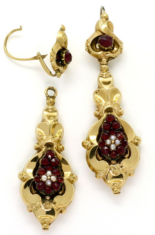 Foto 2 - antike Schaumgold Biedermeier Ohrhaenger Granate Perlen, R4092