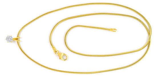 Foto 1 - Brillant Kollier 0,27ct Solitär Schlangenkette 18K Gold, R4155
